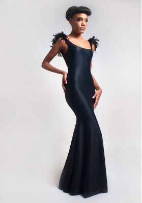 Elisa Malec Evening Dress With Feathers